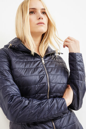 Curvy down jacket with hood, Blue, hi-res