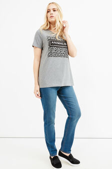 Curvy printed T-shirt in stretch cotton, Grey Marl, hi-res