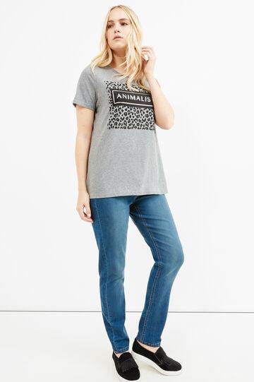 Curvy printed T-shirt in stretch cotton, Grey Marl, hi-res