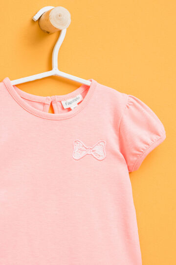 T-shirt with puff sleeves, Peach Orange, hi-res