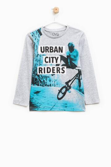 100% cotton T-shirt with maxi print, Grey Marl, hi-res