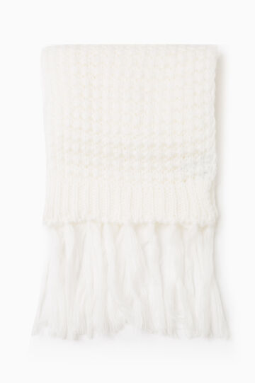 Solid colour knitted scarf with fringe, Cream White, hi-res