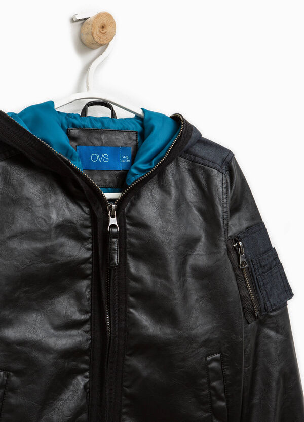 Leather look jacket with pocket | OVS
