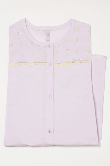 100% cotton nightshirt with buttons, Light Purple, hi-res