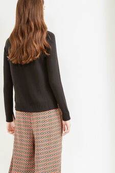 Pullover with high neck and slits, Black, hi-res