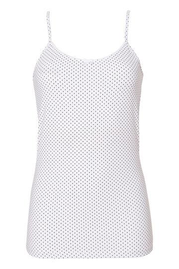 Stretch cotton polka dot print top., Black/White, hi-res