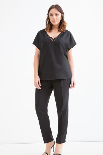 Curvy cotton and linen blouse, Black, hi-res