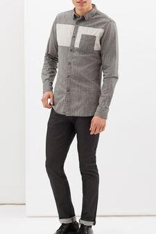 Camicia in puro cotone con inserto, Grigio chiaro, hi-res