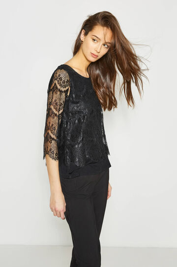 Stretch viscose T-shirt with lace, Black, hi-res