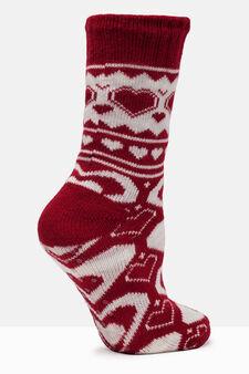 Patterned slipper socks, White/Red, hi-res