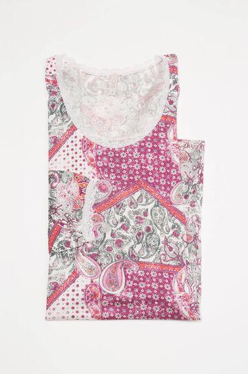 Camicia da notte in viscosa fantasia, Bianco panna, hi-res