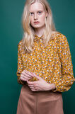 Printed blouse in 100% viscose, Ochre Yellow, hi-res