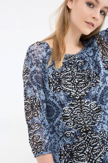 T-shirt con fantasia a contrasto, Blu, hi-res