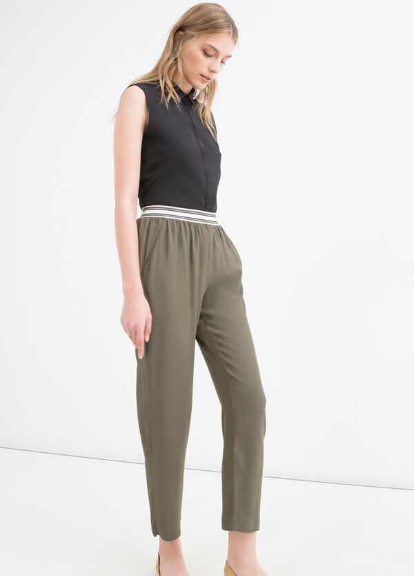 Solid colour 100% viscose trousers | OVS