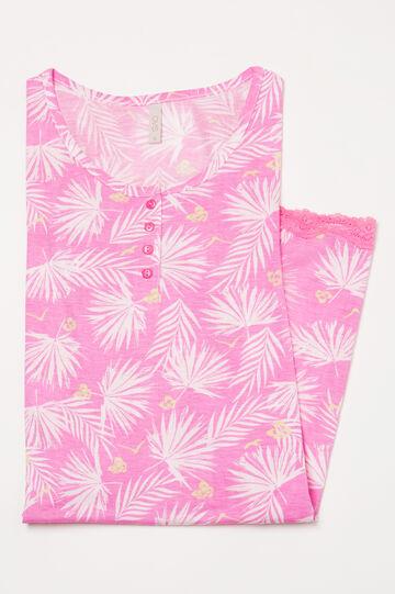 Camicia da notte viscosa stampata, Rosa, hi-res