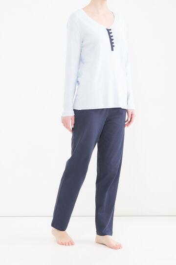 Curvy 100% cotton pyjama top, Lilac, hi-res