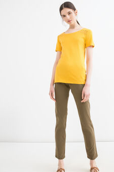 T-shirt in puro cotone tinta unita, Giallo banana, hi-res