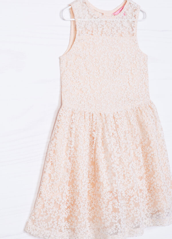 Lace dress with embroidery and diamanté details | OVS