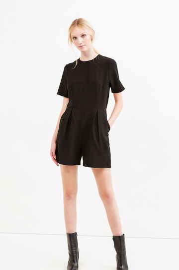 Solid colour stretch short playsuit, Black, hi-res