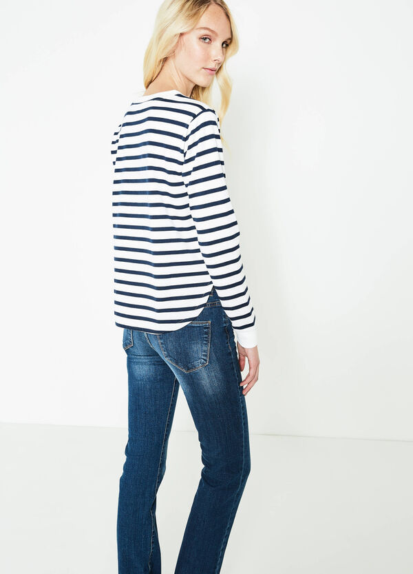 Cotton blend sweatshirt with striped pattern | OVS