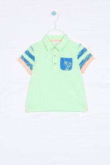 Polo puro cotone effetto macchie, Blu/Verde, hi-res