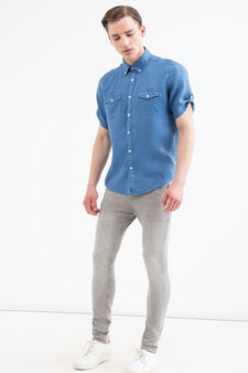 Camicia tinta unita puro lino, Blu, hi-res
