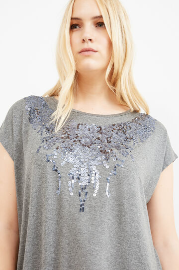 Curvy T-shirt with sequins, Grey Marl, hi-res