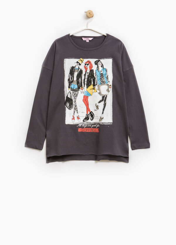 Long-sleeved T-shirt with maxi print | OVS