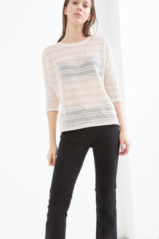 Openwork viscose blend T-shirt., Cream, hi-res