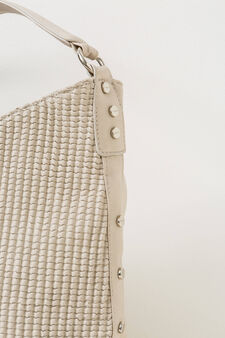 Shoulder bag with raised woven design, Cream, hi-res