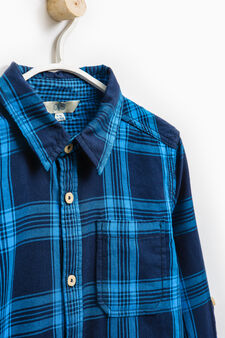 Check cotton shirt with long sleeves, Blue, hi-res