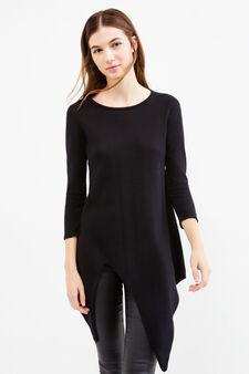 T-shirt cotone fondo asimmetrico, Nero, hi-res