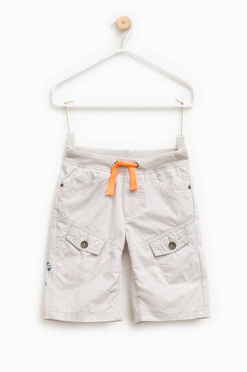 Cotton Bermuda shorts with pockets, White, hi-res