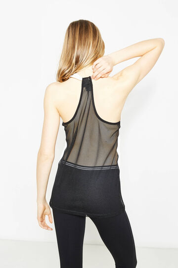 Cotton top with semi-sheer back