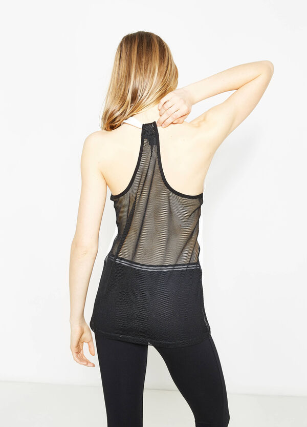 Cotton top with semi-sheer back | OVS