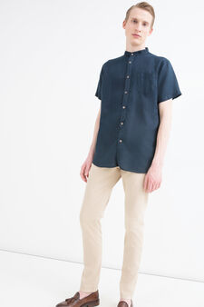Solid colour 100% linen shirt, Blue, hi-res