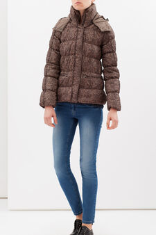 Quilted jacket with hood, Brown, hi-res