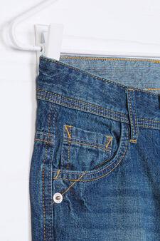 Worn-effect denim Bermuda shorts, Denim Blue, hi-res