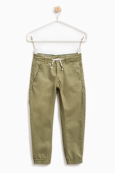 100% cotton joggers with drawstring, Green, hi-res