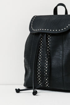 Backpack with studs and drawstring fastening., Black, hi-res