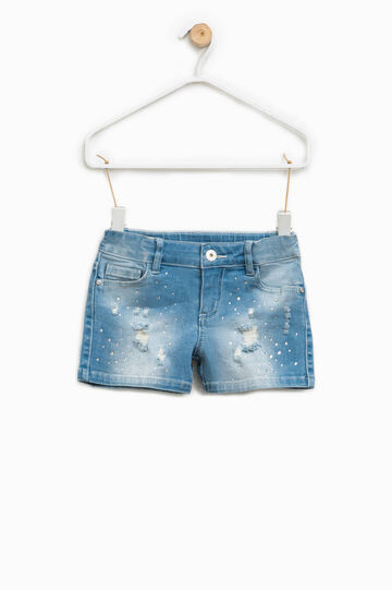 Shorts di jeans effetto used con strass, Denim, hi-res