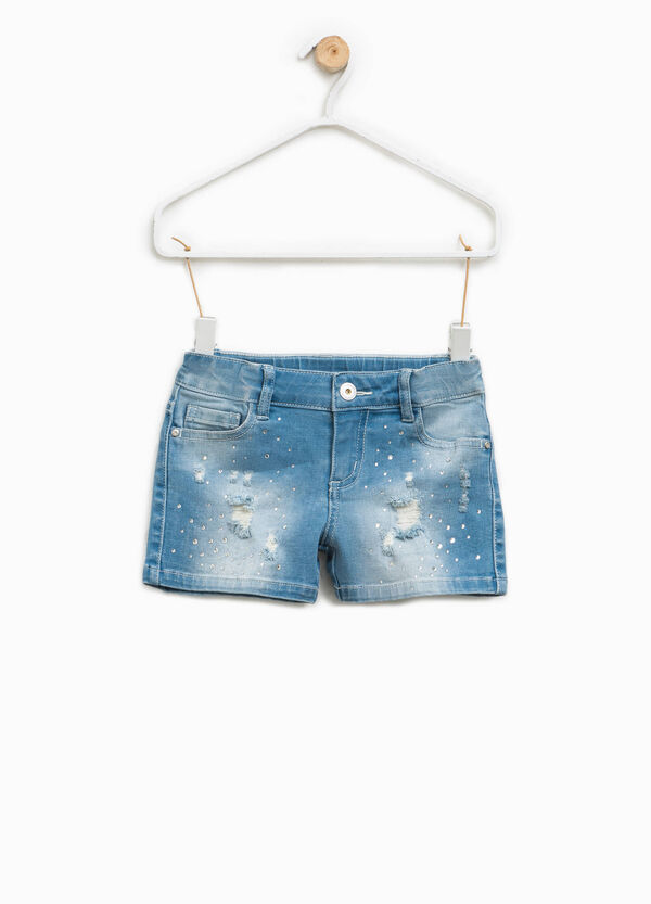 Shorts di jeans effetto used con strass | OVS