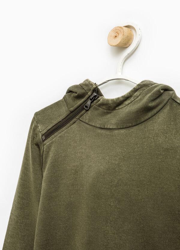 Felpa puro cotone cappuccio con zip | OVS