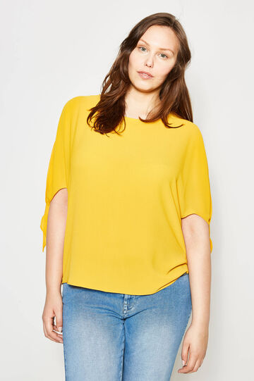 Curvy blouse in stretch crêpe, Sunflower Yellow, hi-res