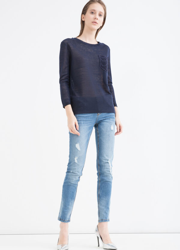 Viscose blend sweatshirt with small pocket | OVS