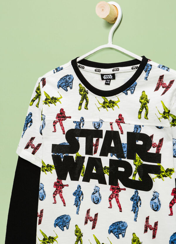 Camiseta con efecto falso doble y estampado de Star Wars | OVS