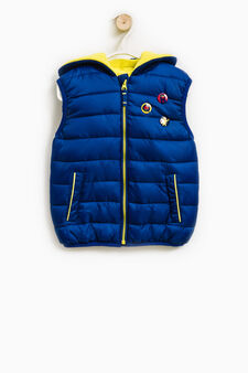 Padded waistcoat with brooches, Blue/Yellow, hi-res