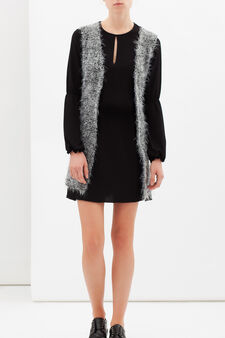 Furry sleeveless cardigan, Black/Grey, hi-res