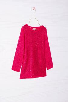 Pullover misto cotone con paillettes, Rosso ciliegia, hi-res