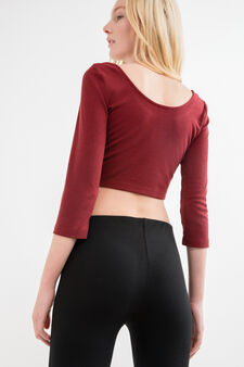 Solid colour stretch top with long sleeves, Red, hi-res